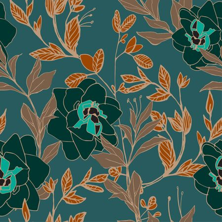 Flowers of roses and peonies with leaves and petals on a aquamarine green color background. Seamless pattern. Vector illustration with hand-drawn plants. Vektorové ilustrace
