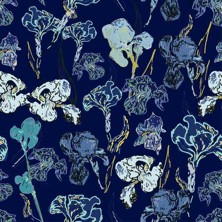 Irises flowers on a background of indigi blue color. Vector illustration, seamless pattern based on the oil painting of Van Gogh. Ilustração Vetorial
