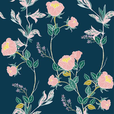 Delicate pink twigs of wild roses with inflorescences, leaves and petals on a dark blue background. Floral seamless pattern. Vector hand-drawn illustration with flowers and plants.