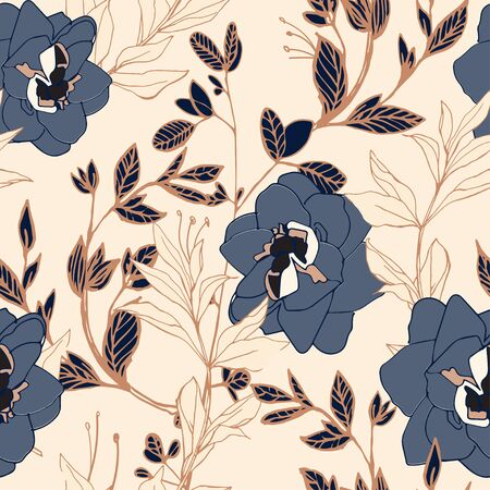 Grey blue flowers of roses and peonies with leaves and petals on a beige cream color background. Seamless pattern. Vector illustration with hand-drawn plants. Illusztráció