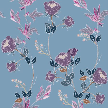 Delicate twigs of light lilac wild roses with inflorescences, leaves and petals on a light blue background. Floral seamless pattern. Vector hand-drawn illustration with flowers and plants.
