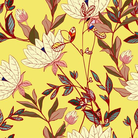 Flowers of lilies with leaves and petals on a yellow color background seamless pattern. Vector illustration with hand-drawn plants.