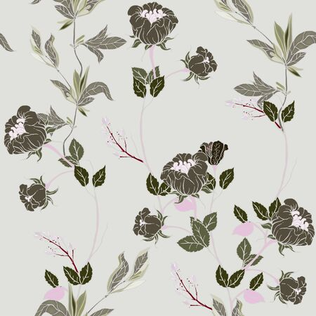Delicate twigs of wild roses with inflorescences, leaves and petals on a light grey, cream background. Floral seamless pattern. Vector hand-drawn illustration with flowers and plants.