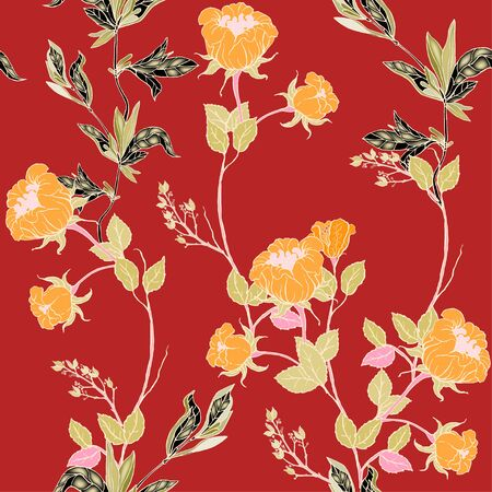 Delicate twigs of wild tangerine roses with inflorescences, leaves and petals on a red background. Floral seamless pattern. Vector hand-drawn illustration with flowers and plants.
