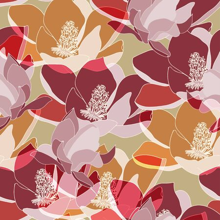 Large red, tangerine inflorescences of flowers. Floral seamless pattern. Vector illustration with hand drawn plants. 일러스트
