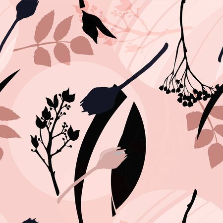 Abstract floral pattern with leaves, flowers and geometric shapes in light  cream oink colors. Seamless vector pattern with circles and plants.  Ilustração