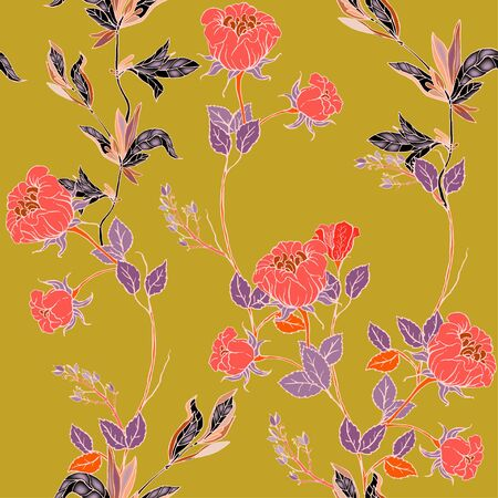Delicate twigs of red roses with inflorescences, leaves and petals on a sage green background. Floral seamless pattern. Vector hand-drawn illustration with flowers and plants.