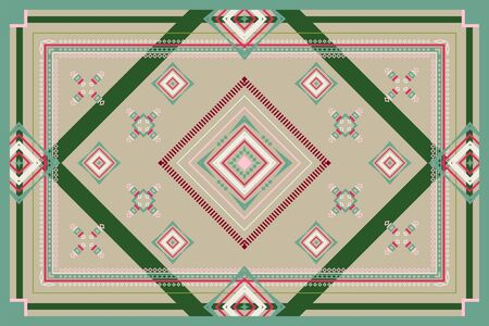 Geometric vector ornament of red, seafoam, green, beige and cream colors lines and shapes. Rectangular pattern for carpet, bedspreads, plaid, blankets, shawl and scarf.