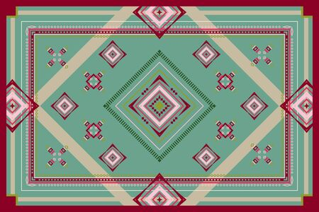 Geometric vector ornament of red, green, beige and cream lines and shapes. Rectangular pattern for carpet, bedspreads, plaid, blankets, shawl and scarf.  イラスト・ベクター素材