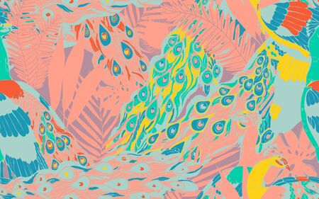 Abstract seamless pattern with large peacock tails and leaves of tropical palm trees. Vector illustration with exotic birds and plants. Peach and turquoise colors.