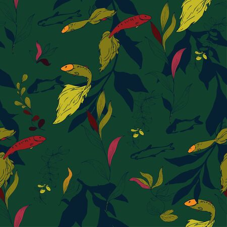 Fish in a thicket of algae on a forest green color background. Seamless vector pattern. Underwater life. Goldfish in the aquarium. Hand made ink drawing. Illustration