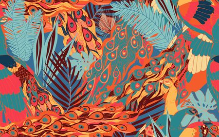 Abstract seamless pattern with large peacock tails and leaves of tropical palm trees. Vector illustration with exotic birds and plants. Red, orange, light blue colors. Ilustração