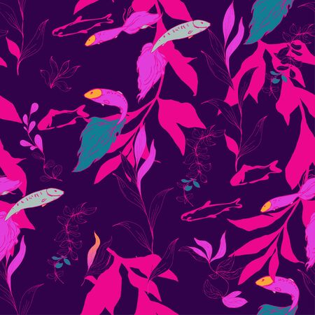 Fish in a thicket of algae on a neon pink, purple, plum color background. Seamless vector pattern. Underwater life. Goldfish in the aquarium. Hand made ink drawing.
