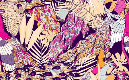 Abstract seamless pattern with large peacock tails and leaves of tropical palm trees. Vector illustration with exotic birds and plants. Beige magenta pink colors.