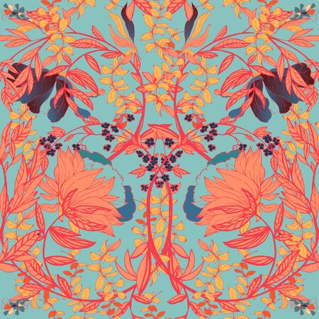 Seamless floral vector pattern with orange, tangerine color twigs and flowers of plants on a light blue, turquoise color background. Symmetric ornament in the style of medieval tapestries and works of William Morris. Elegant design for fabric and wallpaper.
