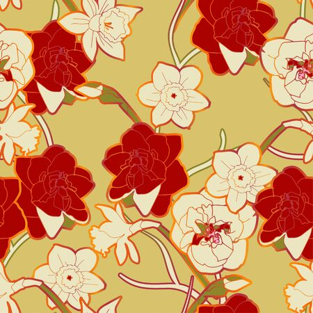 Seamless vector pattern with ornament of twigs and inflorescences and flowers of red, cream color daffodils on sage green background. Modern fashion design for fabric and wallpaper.