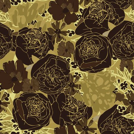 Seamless floral vector pattern with flowers of ochre brown golden roses, peonies and daisies. Summer bouquet of blooming inflorescences and herbs. Design for fabric and wallpaper.