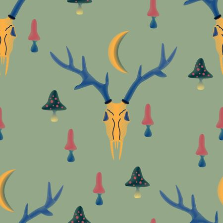 Seamless vector pattern with magical, witchy elements of dark, satanic cults-deer horns, poisonous mushrooms and crescent moon sickle. Green-blue background. Imitation of embroidery with threads on fabric