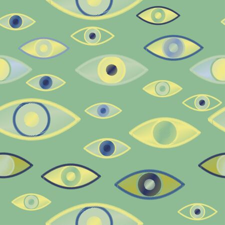 Seamless vector pattern with magical, witchcraft eyes on a sage green color background. Imitation of embroidery with threads on fabric.Fashionable and stylish design for fabric and wallpaper