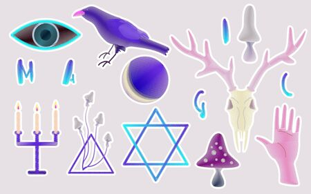 Poster with magic items in neon blue, pink and purple colors. Stickers and stripes with symbols and elements of divination and fortune-telling on a light gray background. All objects are grouped and isolated. Halloween set. Illustration