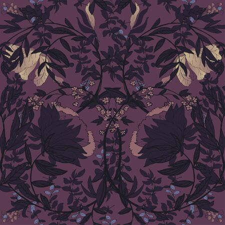 Seamless floral vector pattern with twigs and flowers of plants on a plum purple color background. Symmetric ornament in the style of medieval tapestries and works of William Morris. Elegant design for fabric and wallpaper.