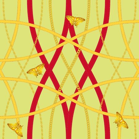 Golden chains, gold butterfly and leather belts on a lemon yellow, chartreuse color background vector seamless pattern.