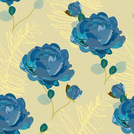 Inflorescences of blue roses on a delicate light cream yellow beige background. Hand-drawn seamless vector floral pattern. Design for fabric and wallpaper.
