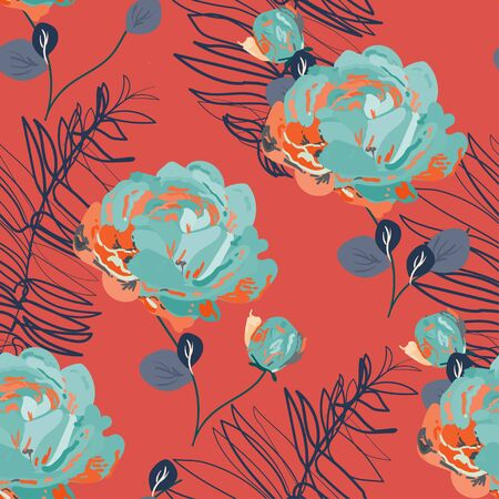 Inflorescences of light blue roses on a orange red background. Hand-drawn seamless vector floral pattern. Design for fabric and wallpaper. Vettoriali