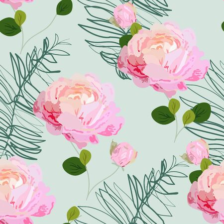 Inflorescences of pink roses on a delicate turquoise light green background. Hand-drawn seamless vector floral pattern. Design for fabric and wallpaper.