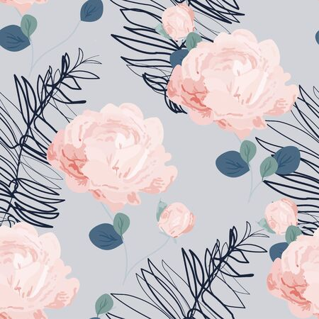 Inflorescences of peach pink roses on a delicate light blue background. Hand-drawn seamless vector floral pattern. Design for fabric and wallpaper. Illustration