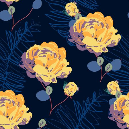 Inflorescences of yellow roses on a indigo blue background. Hand-drawn seamless vector floral pattern. Design for fabric and wallpaper. Illustration