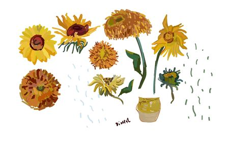 Set hand drawn sunflower flowers on a white background. Vector illustration, pattern based on the oil painting of Van Gogh. All object in  isolated.