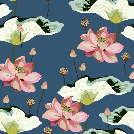 Large pink flowers, inflorescences, buds and lotus leaves on a blue background. Vector seamless floral illustration. Square repeating design template for fabric, wallpaper, invitation.