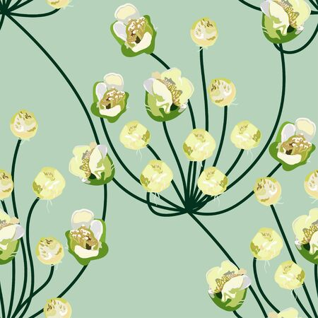 Delicate spring greens. Cream colored inflorescences of flowers on a turquoise, light green background. Floral vector endless pattern. Repeating pattern for fabric, design, postcards, wallpapers.