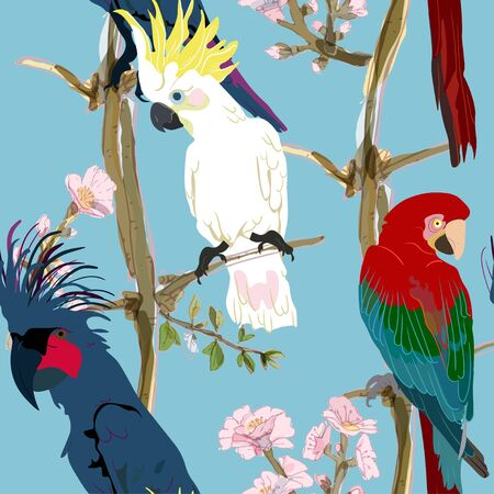 Three vibrant cockatoo parrots are sitting on tree branches in delicate pink flowers seamless vector illustration. Picture with exotic bird on light blue background. Endless pattern. EPS 10 Ilustración de vector