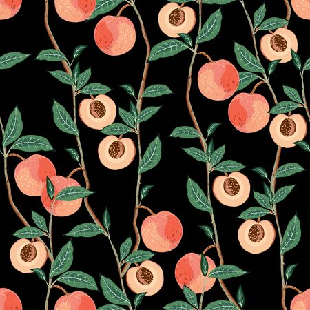 Peach tree branches with leaves and fruits on a dark black background. Vector seamless hand-drawn illustration. Square repeating pattern for fabric and wallpaper. Vettoriali