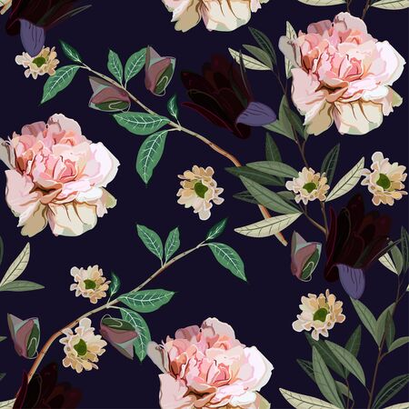 Bouquet of delicate pink and purple flowers and leaves on a dark violet color background. Seamless floral vector pattern. Square repeating design for fabric and wallpaper.