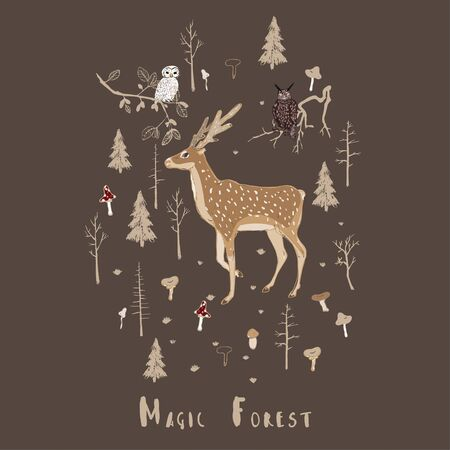 Vector pattern with forest animals and mushrooms on a broun, beige background. Deer, owl and eagle owl in the forest. Square hand-drawn illustration. The inscription
