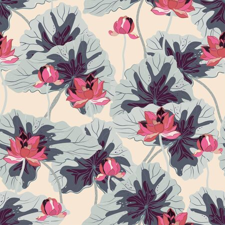 Pink lotuses with large light grey leaves on a cream color background. Vector seamless floral pattern. Square repeating design for fabric and wallpaper.