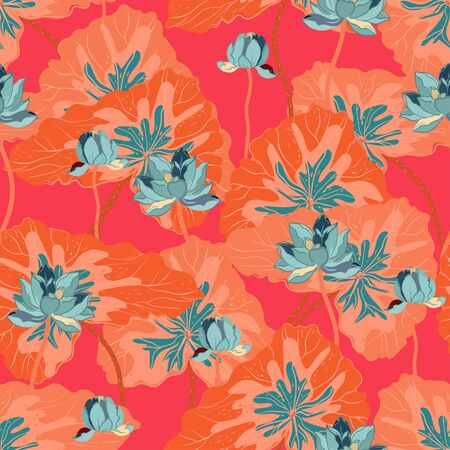 Light blue lotuses with large orange leaves on a red color background. Vector seamless floral pattern. Square repeating design for fabric and wallpaper.