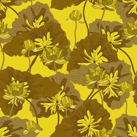 Lotuses with tan, ochre color leaves on a yellow background. Vector seamless floral pattern. Square repeating design for fabric and wallpaper.