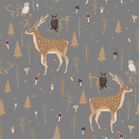 Seamless vector pattern with forest animals and mushrooms on a grey background. Deer, owl and eagle owl in the night forest. Square repeating pattern for fabric and wallpaper. Hand-drawn illustration.