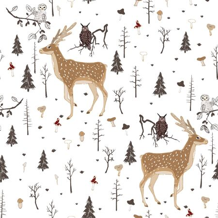 Seamless vector pattern with forest animals and mushrooms on a white background. Deer, owl and eagle owl in the night forest. Square repeating pattern for fabric and wallpaper. Hand-drawn illustration.