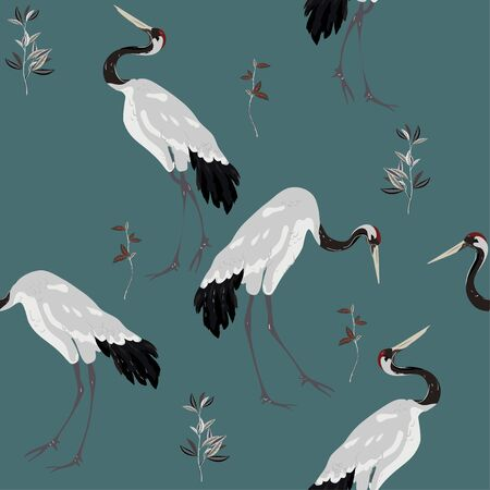 Japanese red-headed cranes dancing among the twigs of grass on a pale grey blue background. Delicate and elegant seamless vector pattern. Square repeating design for fabric and wallpaper.