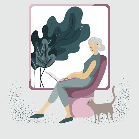A silver generation woman sits in a chair with a laptop on a light gray, cream background. Signora at home with a computer and a cat. Computer literacy for the elderly. Vector square illustration. Pink and green colors