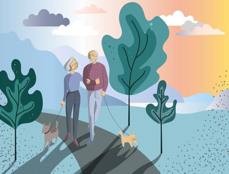 An elderly woman and a man walk in the park hand in hand. Married couple walking dogs under the trees on the lake. Vector illustration with a sunset.