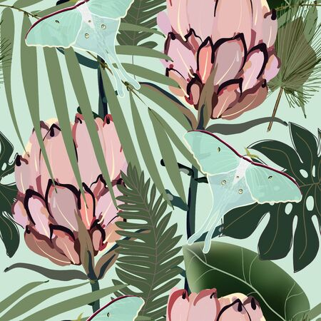 Drawing of a pink protea flower in pale green palm leaves on a light sage color background. Seamless vector floral pattern. Simple square repeating design for fabric and wallpaper.