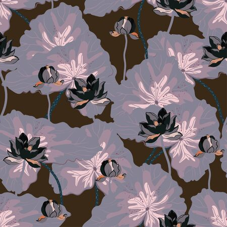 Dark lotuses with pale leaves on a brown color background. Vector seamless floral pattern. Square repeating design for fabric and wallpaper.