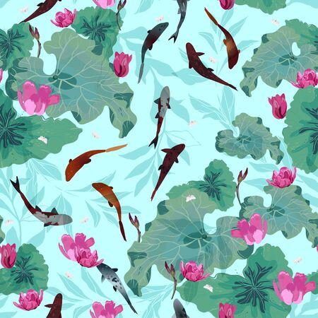 Pink flowers and green leaves of lotuses, koi carps in light blue water. Seamless hand-drawn vector illustration with a pond. Square repeating design for fabric and wallpaper. Illustration