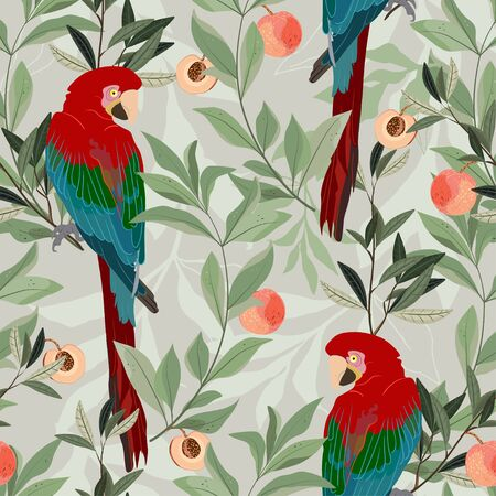 A red macaw parrot sits on a branch of a peach tree, among green leaves and ripe fruits on a cream color background. Seamless vector art pattern. Square repeating design for fabric and wallpaper.